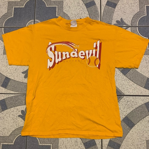 VTG Sundevils Softball Double-Sided Spellout Tee L